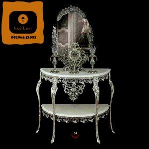 آینه و کنسول و ساعت و شمعدان آلومینیومی کد 54
