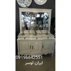 آینه و کنسول سه درب سفید مدل صدفی