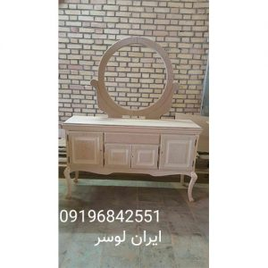 کلاف آینه و کنسول چوبی مدل گرد ایتالیا