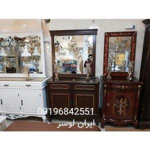 آینه و کنسول چوبی دو درب