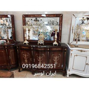 آینه و کنسول چوبی سه درب بزرگ معرق