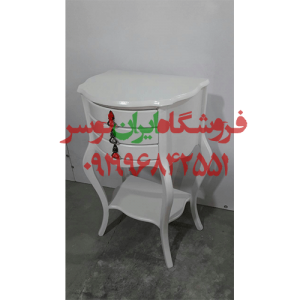 میز چوبی سه کشو سفید مدل خم