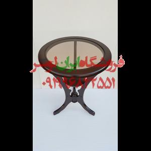 میز گرد هنری شیشه ای و چوبی