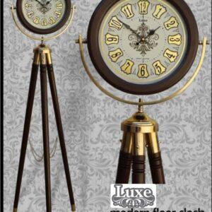 ساعت ایستاده کنارسالنی فانتزی سه پایه چوبی فلزی مدل لوکس کد 600