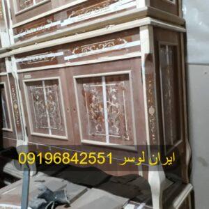 آینه و کنسول چوبی دو درب Italian Design معرق کاری شده